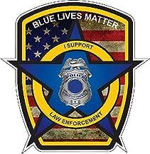 Thin Blue Line Police Officer BLM American Flag Vinyl Decal Sticker Car Truck 5