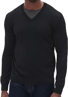 Banana Republic Men's Washable Merino Wool V-Neck Sweater, Black