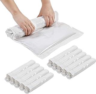 StoragePro 圧縮袋 衣類圧縮袋 旅行圧縮袋 手巻き式 防塵防湿 防虫防カビ Lサイズ60*40cm 10枚 ホワイト
