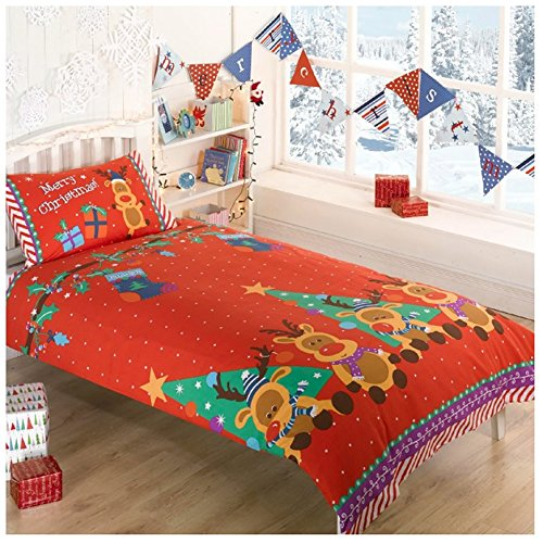 Rudolph Reindeer Presents Stars Christmas Kids Junior Quilt Duvet Cover and Pillowcase Toddlers Bedding Bed Set, Red