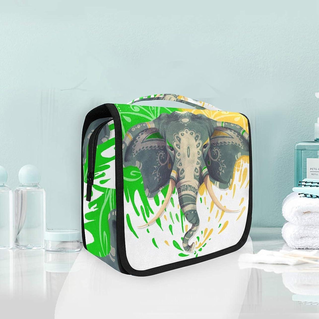 心配ミトン召集する象のアートハンギング折りたたみトイレタリー化粧品袋メイク旅行オーガナイザーバッグケース用女性女の子浴室