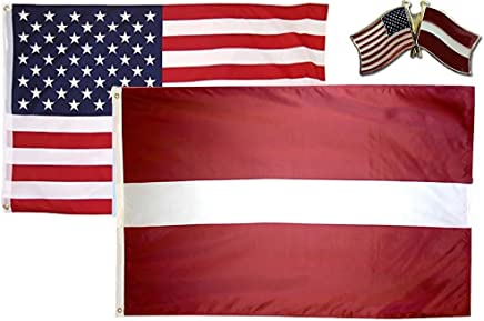 ALBATROS USA with Latvia Country 3 ft x 5 ft 3x5 Flag with Lapel Pin for Home and Parades, Official Party, All Weather Indoors Outdoors