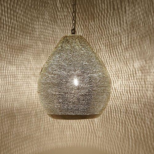 Orientalische Lampe marokkanische Hängelampe Maskat D24 Silber aus Messing mit E27 Fassung | Kunsthandwerk aus Marokko | Prachtvolle Pendelleuchte wie aus 1001 Nacht | EL2250