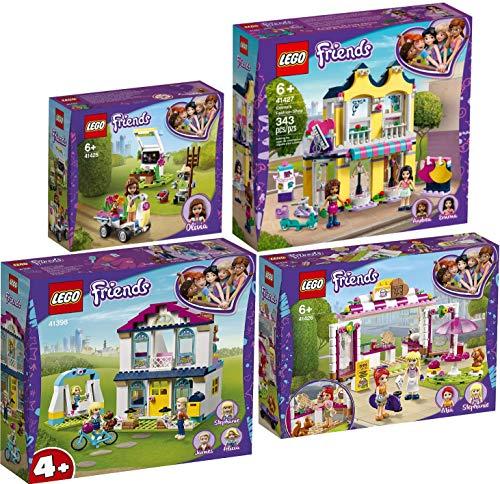 Lego Friends - Juego de 4 casas, 41398 41425 41426 41427, casa familiar + jardín de flores + casa de gofres + tienda de moda