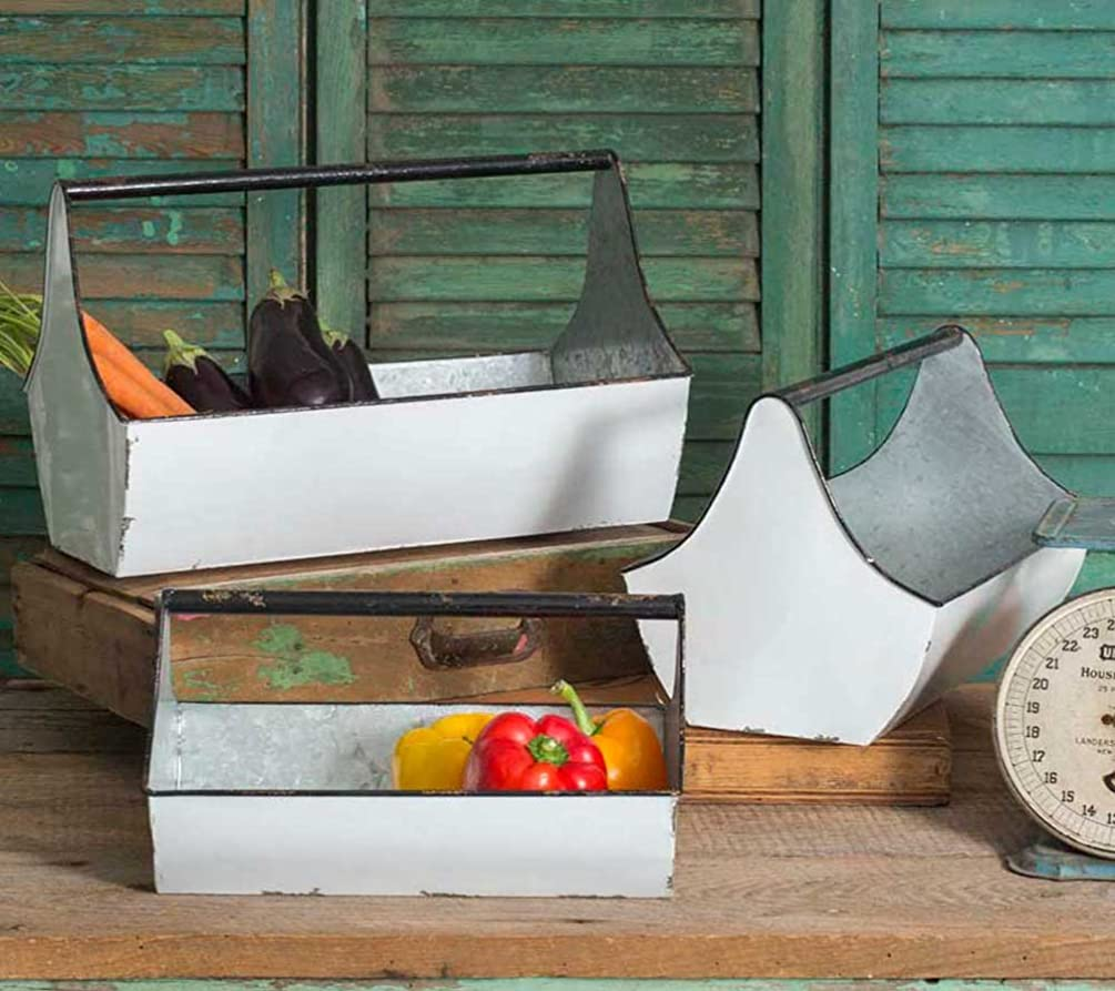Distressed Decorative Metal Toolbox Caddies (set of 3)