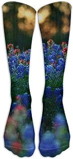 植物花ネイチャーブルーレッドアスレチックチューブストッキングレディースメンズクラシックニーハイソックススポーツロングソックスワンサイズ