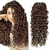 Hetto Extensiones de cabello con clip en cabello humano de 45 cm de largo, extensiones de cabello castaño con clip de 45 cm de largo, para mujer, color natural, 4 clips de pelo marrón oscuro