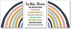 In this Room Sign, Rainbow poster set, Diversity classroom, Boho classroom wall art, Office wall art, Set of 3 8x10