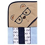 Luvable Friends Unisex Baby Hooded Towel with Five Washcloths, Smart Bear, One Size