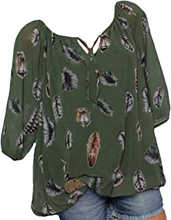 Loyomobak Women Half Sleeve Plus Size Chiffon V Neck Printed Blouse Tops Shirts