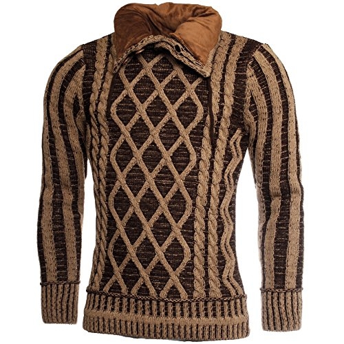 Young & Rich Herren Strick Kontrast Rauten Pullover mit Knopfleiste Stehkragen Slimfit YR1101, Grösse:XL;Farbe:Braun