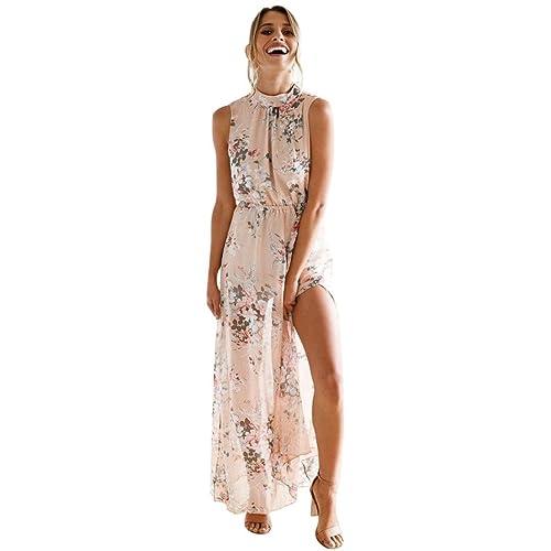 2d59b94278d1 HOMEBABY Chiffon Floreale Abiti Lunghi Donna Eleganti - Estivi Vestiti  Casual Donna - Vintage Maxi Abito