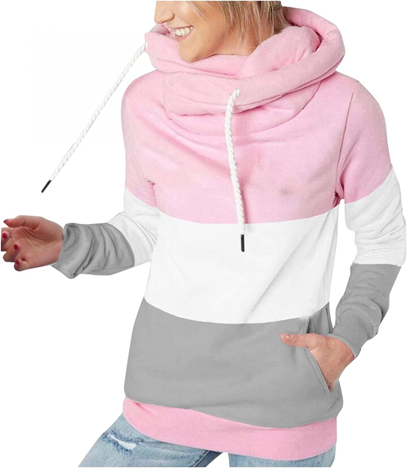 UOCUFY Hoodies for Women Pullover,Causal Drawstring Turtleneck Sweatshirts Long Sleeve Color Block Hooded with Pockets