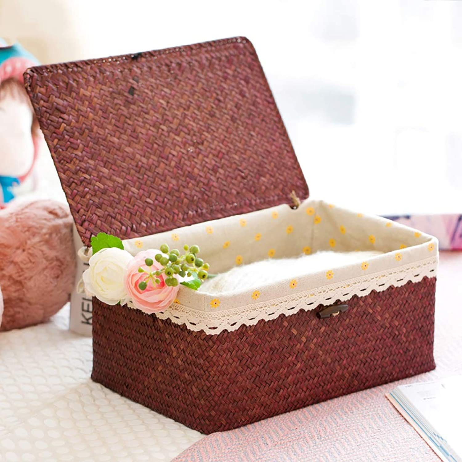 FANGFA Storage Basket Rattan Hand-Woven Living Room Bedroom Clothes Toy Storage boxs with lid Primary color and Brown, LWH  33  22  16cm (color   Brown, Size   LWH 33  22  16cm)