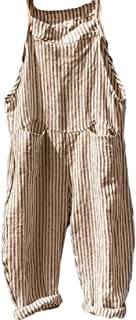 FSSE Womens Bib Wide Leg Baggy Striped Pockets Overalls Romper Jumpsuits
