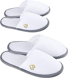 Foorame Spa Slippers, Closed Toe (6 Pairs- 3L, 3M) Disposable Indoor Hotel Slippers for Women, Fluffy Coral Fleece, Deluxe...