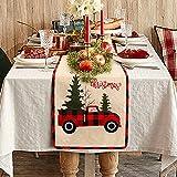 Weldomcor Camino de mesa de Navidad de arpillera de búfalo a cuadros de árbol rústico camino de mesa de Navidad bordado Feliz Navidad Camino de mesa de comedor para decoración de casa de granja