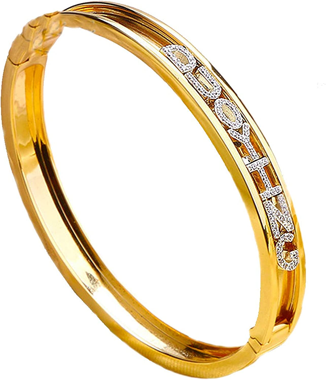 Veggicy Custom Name Bangle Personalized Letter Name Bracelet Inspirational Bracelets for Men Women Girl Letters Slider Charms Bangle Fashion…