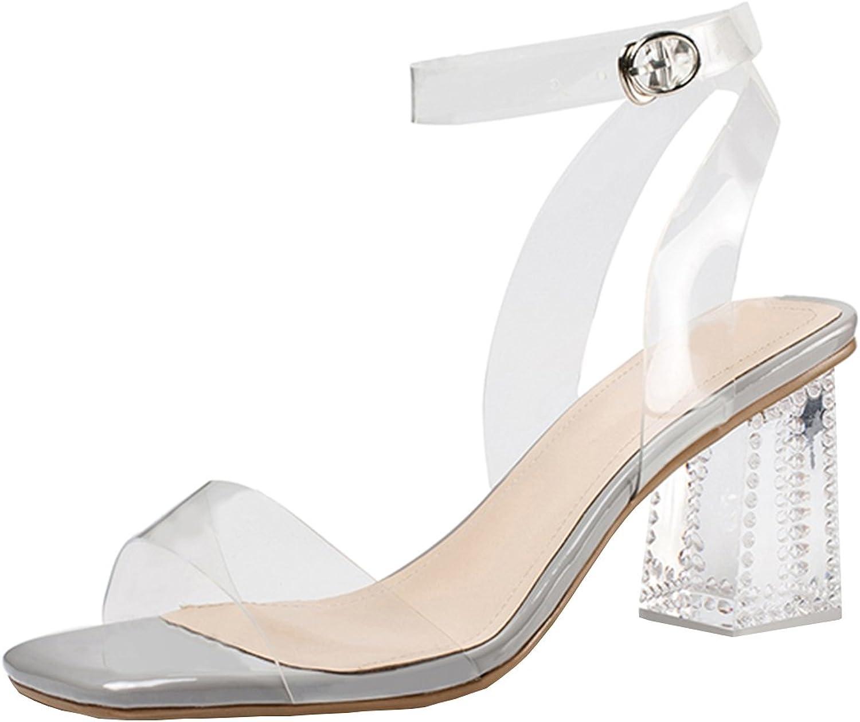 Artfaerie Women's Chunky Heel Ankle Strap Sandals with Transparent Open Toe Slingback Block Heels shoes