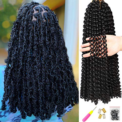 6Pcs Passion Twist Hair 18 Inch Braiding Water Wave Crochet Hair for Disstressed Butterfly Locs Crochet Hair Bohemian Braids Passion Twist Crochet Braiding Hair Extensions (1B)