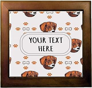 Ceramic Tile in Wood Frame Custom Black Tan Virginia Foxhound Pattern C Adults