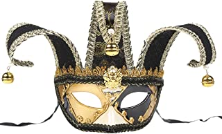 Masquerade Mask Jester Venetian Men Music Mardi Gras Wall Halloween Eye Mask Home Wall Hanging Ornament Decoration Gift Face Couple's Gorgeous Costumes Accessory Zhhlaixing