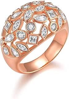 Italina Fashion Jewelry Ring Classic Style Wedding Band for Women Ladies Birthday Gift Rhodium/Rosegold/Gold Plating