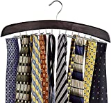 Richards Homewares Wooden Tie Rack Hanging Organizer for Mens...