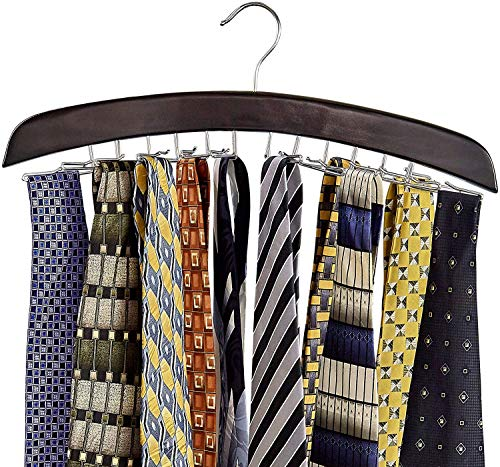 Richards Homewares Wooden Tie Rack Hanging Organizer for Mens Closet Accessories Space Saving Necktie Holder for Storage and Display Holds 24 Ties Walnut Wood with Chrome Accents