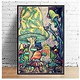 Bricolaje Colores Números Pintado Digital Pintura Lienzo Painting Kits Seta Psicodélica De Dibujos Animados Casa Abstracta Hada Regalo Para Niños-45X60cm