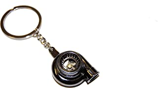 Spinning Stainless Steel Turbocharger Keychain Keyring