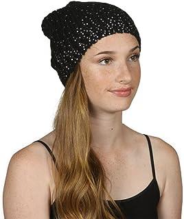 TopHeadwear Diamond Sparkle Cuffless Beanie Black