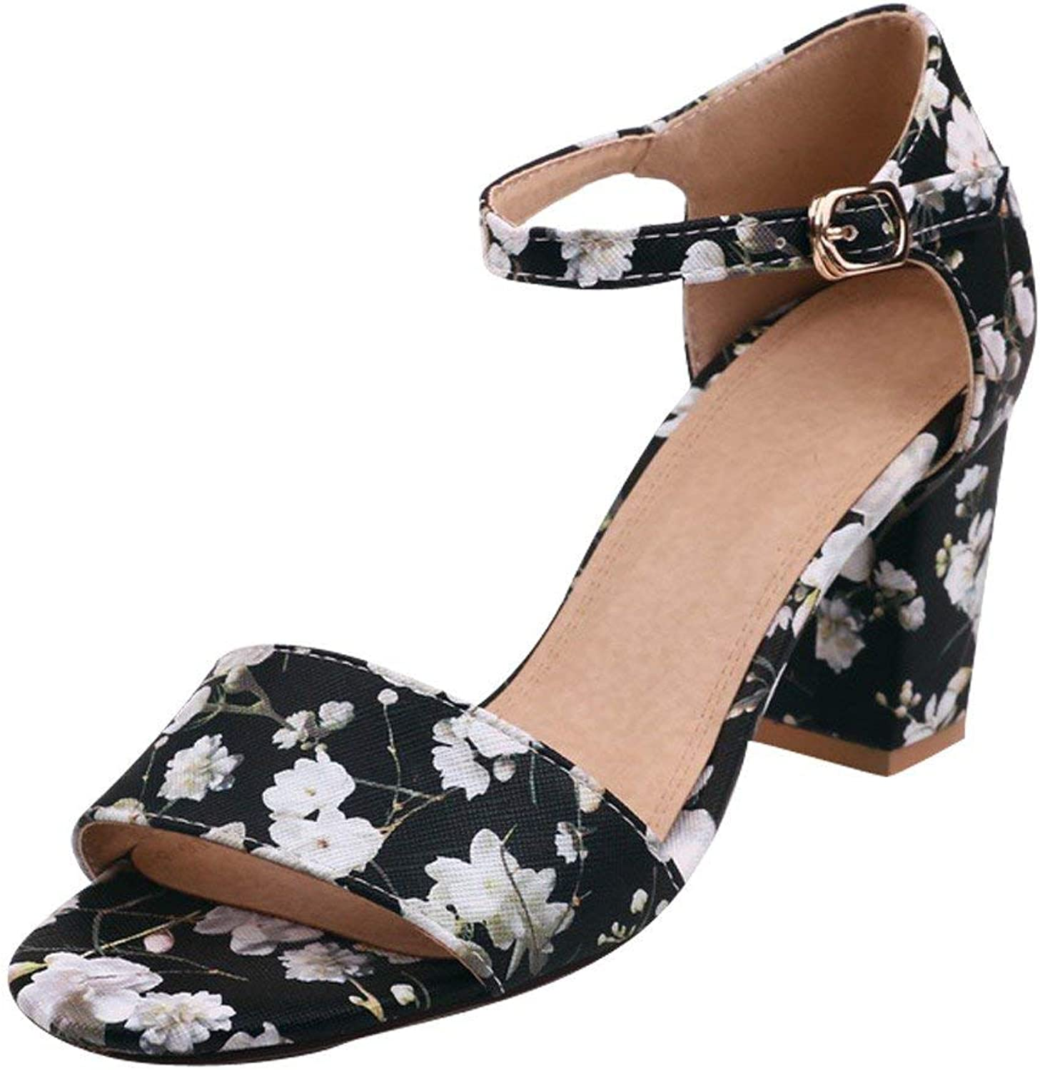 Ghapwe Women's Open Toe Chunky High Heel Floral Heeled Sandals White 8 M US