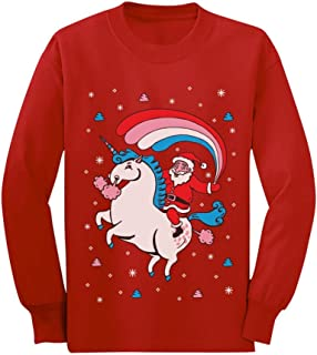 Santa Riding Unicorn Rainbow Ugly Christmas Toddler/Kids Long Sleeve T-Shirt
