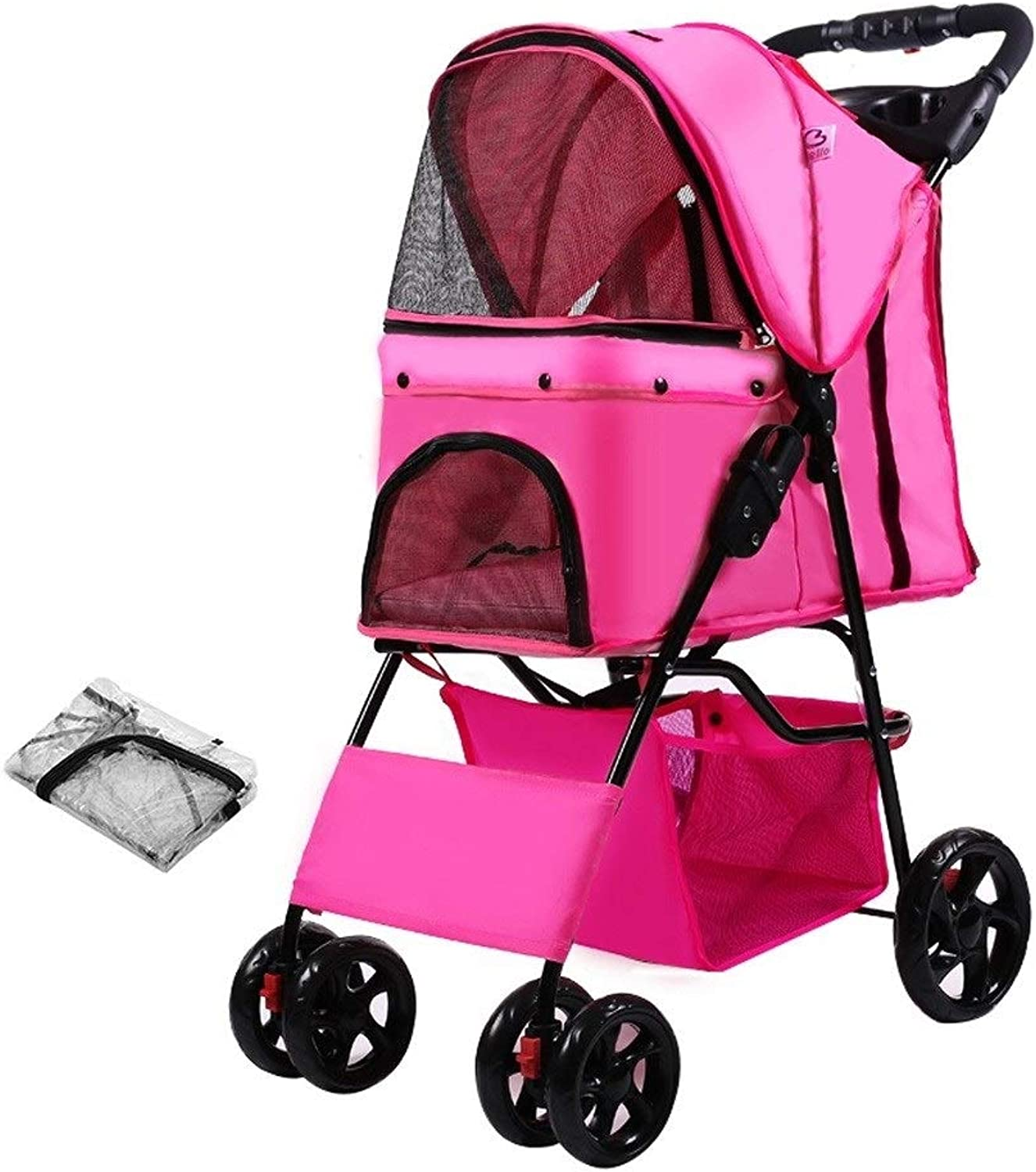 RYAN Dog Pushchair, Stroller Pram Carrier Outdoor Travel Cart Cage 4 Wheels For Teddy Disabled Dog Small Medium Dog (color   8)