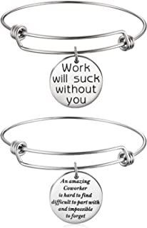 Coworker Leaving Gifts for Women Colleague Boss Goodbye Farewell Gifts Going Away Thank You Bangle Bracelet for Women