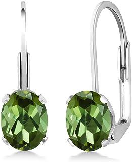 Sterling silver two tone metal gemstone green tourmaline earrings tourmaline dangle earrings bench silver and silver vermeil jewelry