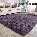 junovo Rectangle Ultra Soft Area Rugs Fluffy Carpets for Bedroom Living Room Shaggy Floor Rug Home Decor Mats, 4 x 5.3ft, Grey-Purple