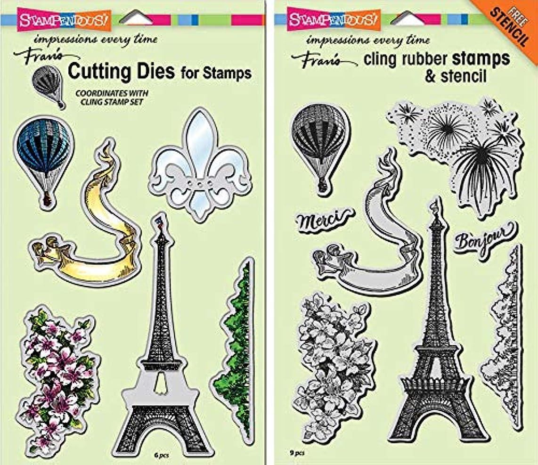 Stampendous Cling Stamp and Die - Paris Bonjour - 2 Item Bundle