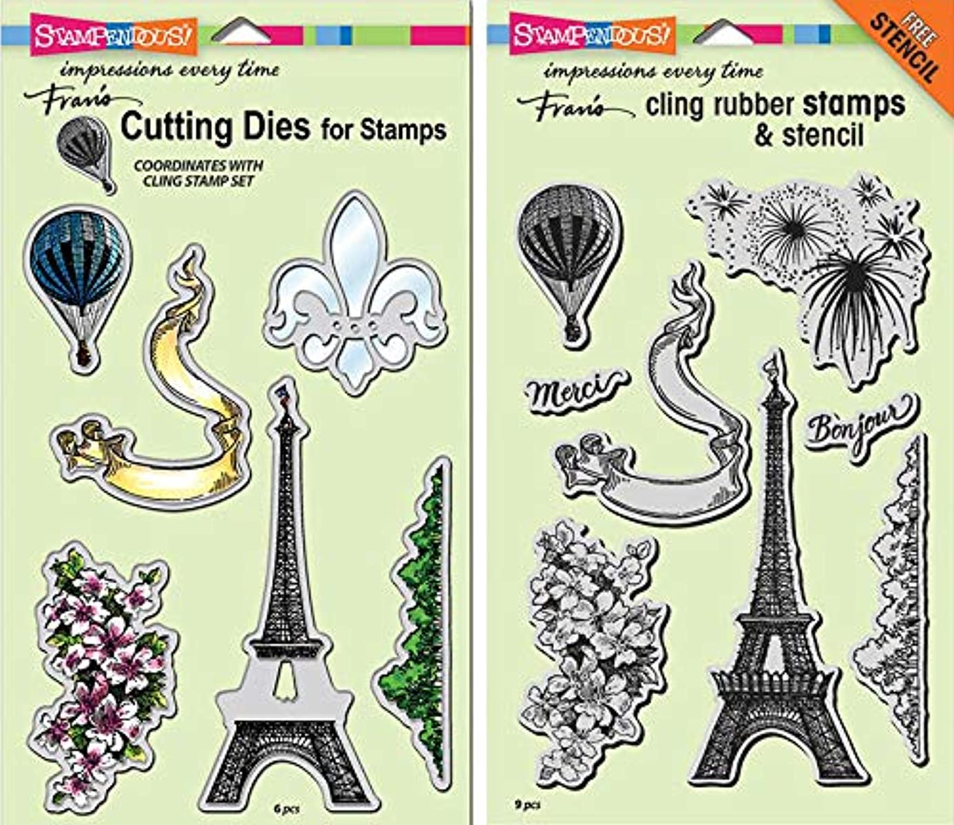 Stampendous Cling Stamp and Die - Paris Bonjour - 2 Item Bundle sdo3836134