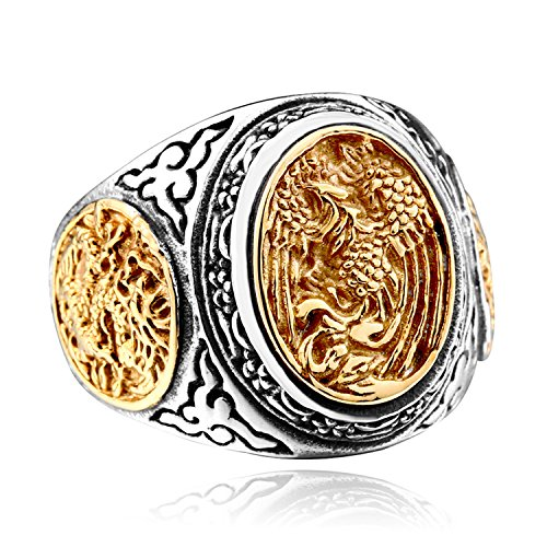 LILILEO Jewelry Titanium Steel Retro Chinese Style Dragon and Phoenix Ring for Unisex Rings