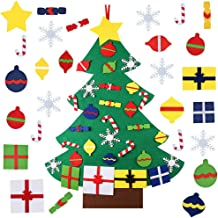 30pcs Felt Christmas Tree for Kids DIY Christmas Tree with Toddlers Ornaments for Children Xmas Gifts Hanging Home Door Wall Christmas Decorations