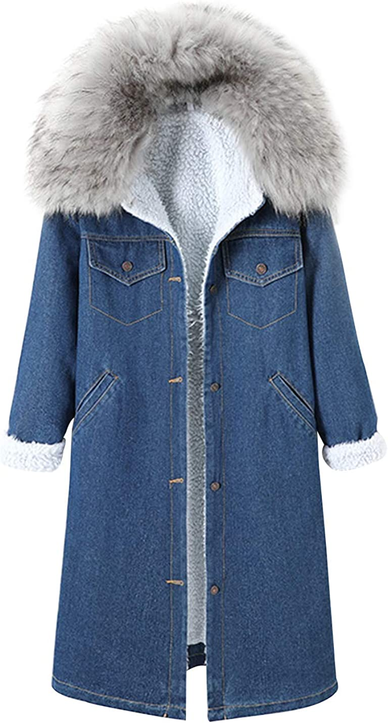 Gihuo Women's Sherpa Lined Long Denim Jacket Jean Coat with Faux Fur Collar