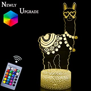 Fortress Llama Night Light Lamps 3D Optical Illusion LED Alpaca Nightlights Night Stand Novely Gifts for Fortress Game Lovers Remote Control & RGB Display for Kids Boys Girls Bday Xmas (Alpaca)