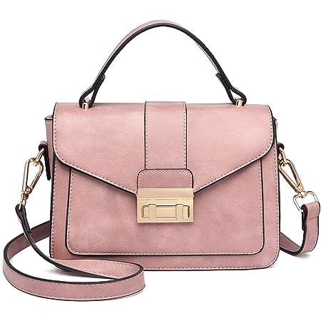 Miss Lulu Handtasche Klein Henkeltasche Damen Elegante Schultertasche Suede Kunstlerder Shopper (Pink-1)