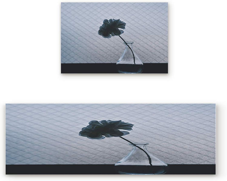 Glass Vase Kitchen Floor Mat Set of 2, Non Slip Rugs Washable for Indoor Kitchen Bathroom,19.7 x31.5 +19.7 x47.2