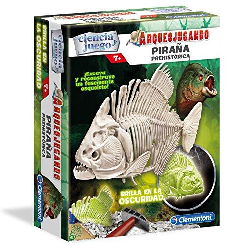 Clementoni - Arqueojugando Piraña Fluorescente, Juego Educativo (550289)