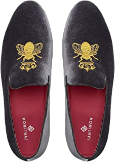 Mocassin Homme Broderie Noble Velours Chaussure Vintage Chausson Chaussures Homme Loafers Slippers Homme Pantoufle