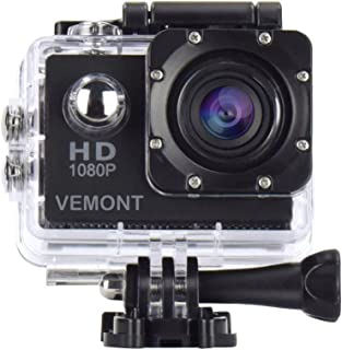 Vemont Cámara Deportiva 1080P HD Impermeable 30M Pantalla de 2.0 Lente de Gran Angular de 120 Grados Multiples Accesorios para Deportes y Actividades Buceo Nadar Correr Ciclismo etc. (Negro)