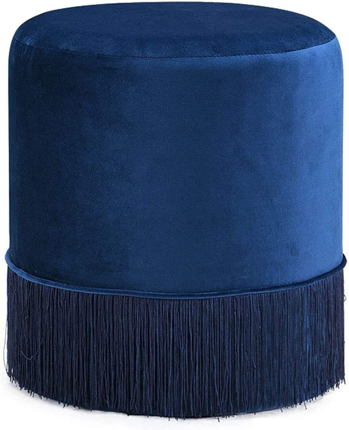 LSXIAO Pouffes And Footstools Dressing Table Stool Round Seat Fringe Decoration Living Room Footrest Mat, 4 colors (color   bluee, Size   40x40x44cm)